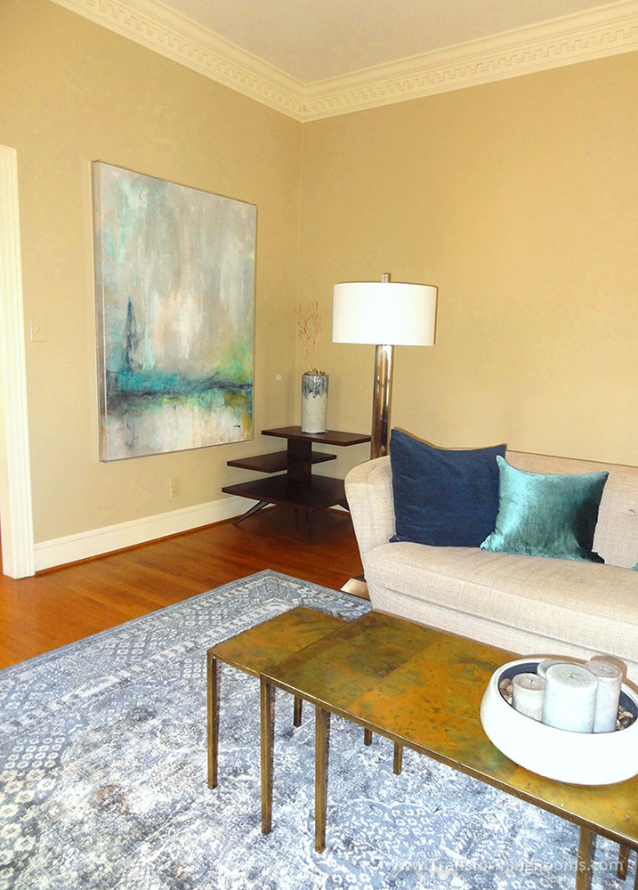 This Greensboro, NC Living Room Was Begging For Color And Light. We Brought  Large Local Art, Custom Pillows, A Contemporary Floor Lamp, A Cocktail Nest  Of ...