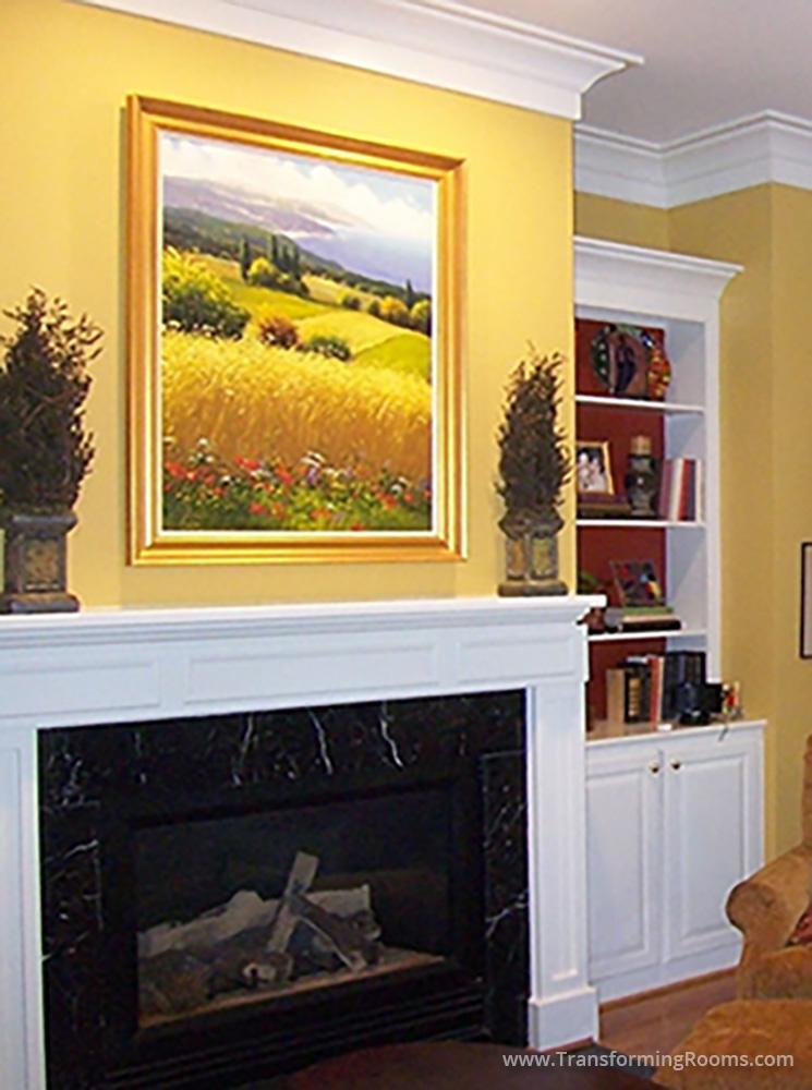 Interior Design Greensboro | colorful art nature scene yellow mantle ...